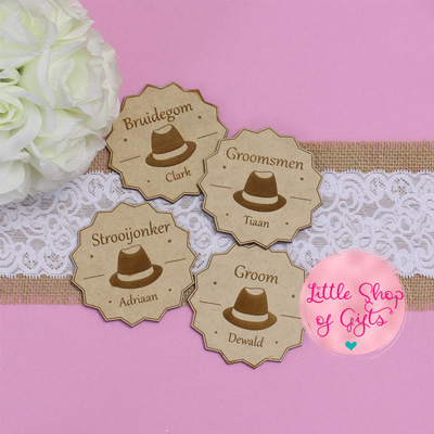 Engraved wooden bridal party badges