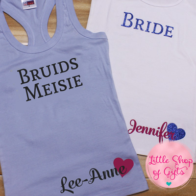 Personalized Bridal party tank top with heart