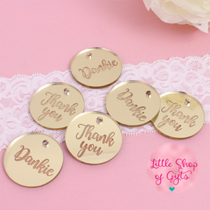 Gold acrylic mirror Thank you tags