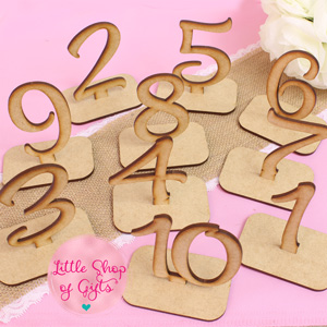 Laser engraved table number (with stand) 1 - 10