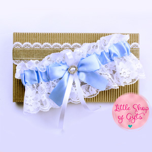 Lace Garters - White Lace Garters with Light Blue Trimming