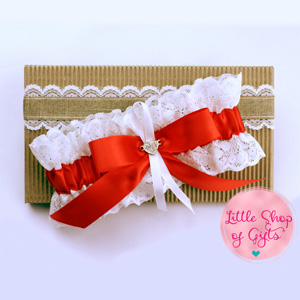 Lace Garters - White Lace Garters with Red Trimming