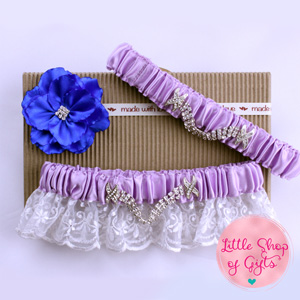 LightPurple Lace Rhinestone Garters set