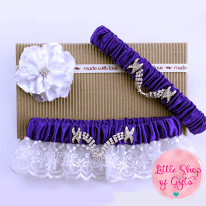 Dark Purple Lace Rhinestone Garters set