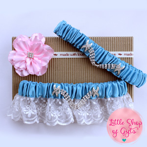 Light Blue Lace Rhinestone Garters set