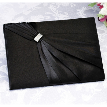 Satin Rhinestone Guest Book-Black