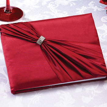 Satin Rhinestone Guest Book-Red