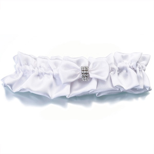 Rhinestone Band Satin Garters White